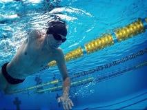 Junger Schwimmer im Pool Lizenzfreie Stockfotos