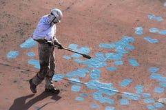 Junger Seaman Painting His Ship Lizenzfreies Stockfoto