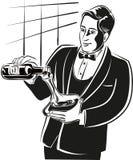 Junger Sommelier, Absicht auf strömendem Wein von stock abbildung