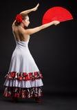 Junger spanischer Frauentanzenflamenco auf Schwarzem Lizenzfreies Stockbild