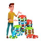 Junger Spieler With Huge Stack des Schürhakens Chips Vector Getrennte Abbildung stock abbildung