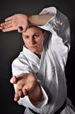 Junger sportlicher Karatemann Stockfotografie