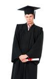 Junger Staffelungsmann mit Diplom Stockfoto