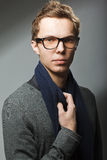 Junger stattlicher Mann in den Gläsern Stockfotografie