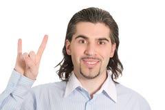 Junger stattlicher Mann, der glücklich getrenntes Weiß lächelt Lizenzfreie Stockfotografie