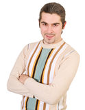Junger stattlicher Mann in der Strickjacke getrennt Lizenzfreie Stockfotografie