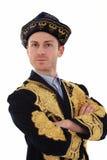 Junger stattlicher Mann im typischen Kazakkleid Lizenzfreies Stockbild