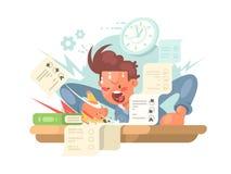 Junger Student auf Prüfung lizenzfreie abbildung