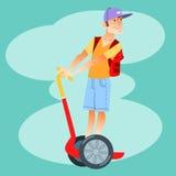 Junger Tourist auf elektrischem Roller Lizenzfreie Stockbilder