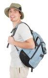 Junger Tourist auf Weiß stockbilder