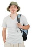 Junger Tourist auf Weiß Stockfotos