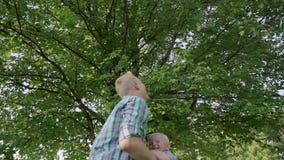 Junger Vater, der auf Händen sein kleines Kind nimmt und oben seins an der Wiese an einem sonnigen Tag in der Parkzeitlupe voll w stock video footage
