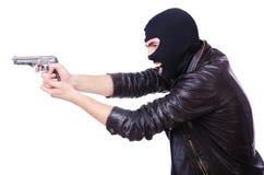 Junger Verbrecher mit Gewehr Stockbilder