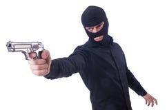 Junger Verbrecher mit Gewehr Stockfotos