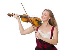 Junger Violinenspieler lokalisiert Lizenzfreie Stockbilder