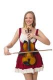 Junger Violinenspieler lokalisiert Lizenzfreies Stockfoto