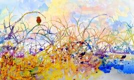 Junger Vogel in dornigem scheuern sich stock abbildung