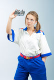 Junger weiblicher blonder Seemann Stockfotografie