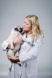Junger weiblicher blonder Tierarzt Lizenzfreies Stockbild