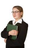 Junger weiblicher Buchhalter mit Hauptbuch Stockfoto