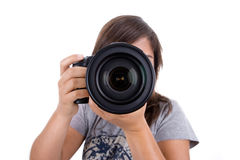 Junger weiblicher Fotograf getrennt auf Weiß Stockbilder