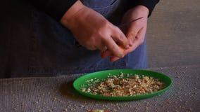 Junger weiblicher Koch im Skelettkostüm und -schutzblech schnitt rote Gemüsepaprikas und zu säubern, um einzufrieren stock footage
