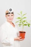 Junger Wissenschaftler botanisch mit grünem Baum lizenzfreie stockbilder