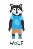 Junger Wolf in einer Jacke mit einer Haube, Kunstillustration Karte mit Modetieren Stockbild