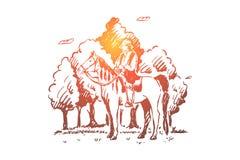 Junger Zigeuner, der zu Pferd, Rom-Reitpferd im Wald, Nomade im Sattel, freie Nation, gesichtsloser Reiter im Holz sitzt lizenzfreie abbildung