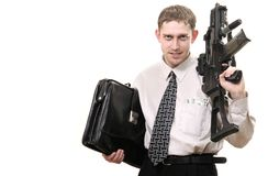 Junger zweckmäßiger Manager mit Gewehr Stockfotografie