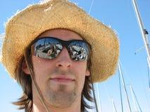 Junges überzeugtes Mannboot Marin Stockfotografie