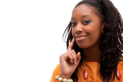Junges Afroamerikanerfrauenlächeln Stockfotografie