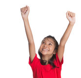 Junges asiatisches Mädchen, das Hände IV anhebt Lizenzfreie Stockfotografie