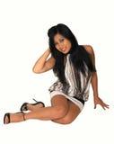 Junges asiatisches Mädchensitzen. stockfoto