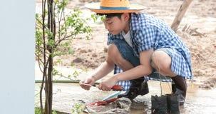 Junges asiatisches thailändisches Jungenwasser auf kleinem Sämling auf dem schwarzen Boden im Garten stock video