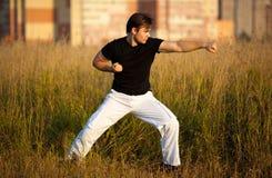 Junges athletisches Mann-Kampfkunsttraining Stockbild