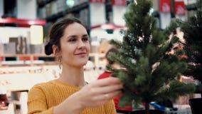 Junges attraktives Brunettemädchen wählt im Geschäft einen künstlichen Weihnachtsbaum, Weihnachtsdekoration Lizenzfreies Stockfoto