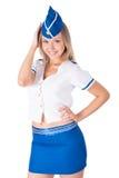 Junges attraktives Stewardesslächeln Stockbilder