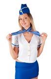 Junges attraktives Stewardesslächeln Stockfotos