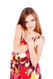 Junges bescheidenes schönes Mädchen im Kleid Lizenzfreies Stockfoto
