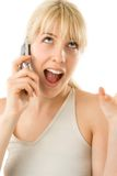 Junges blondes auf Mobiltelefon Lizenzfreie Stockfotos