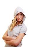 Junges blondes Baumuster mit hoody Lizenzfreie Stockbilder