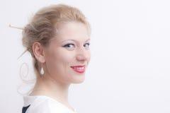 Junges blondes Frauen-Porträt Stockfotos