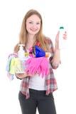 Junges blondes mit der Reinigungsanlage lokalisiert auf weißem Hintergrund Lizenzfreies Stockbild