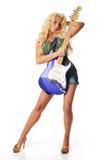 Junges blondes mit Gitarre Stockfotografie