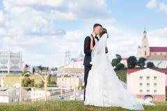Junges Braut- und Bräutigamküssen stockfotografie