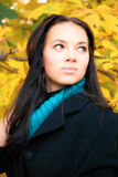 Junges Brunettefrauen-Herbstportrait Stockbild