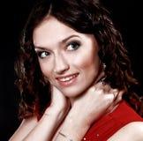 Junges Brunettefrauen-Schönheitsportrait Stockfotografie