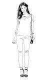 Junges dünnes Mädchen eigenhändig gezeichnet in Tinte in volles Wachstum Stockfoto