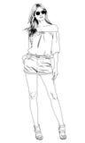Junges dünnes Mädchen eigenhändig gezeichnet in Tinte in volles Wachstum Stockbild